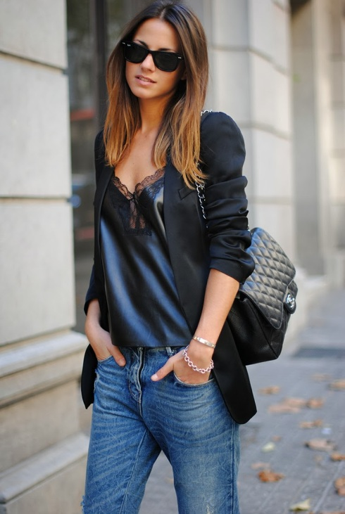 chanel bag, lace top, baggy jeans, zina charkoplia, fashionvibe